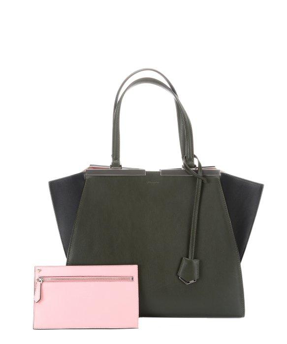 40e05cafe695 ... peekaboo regular fendi 55e05 7e827 purchase lyst fendi green and blue  leather 3jours trapeze bag in green 49f86 de595 ...