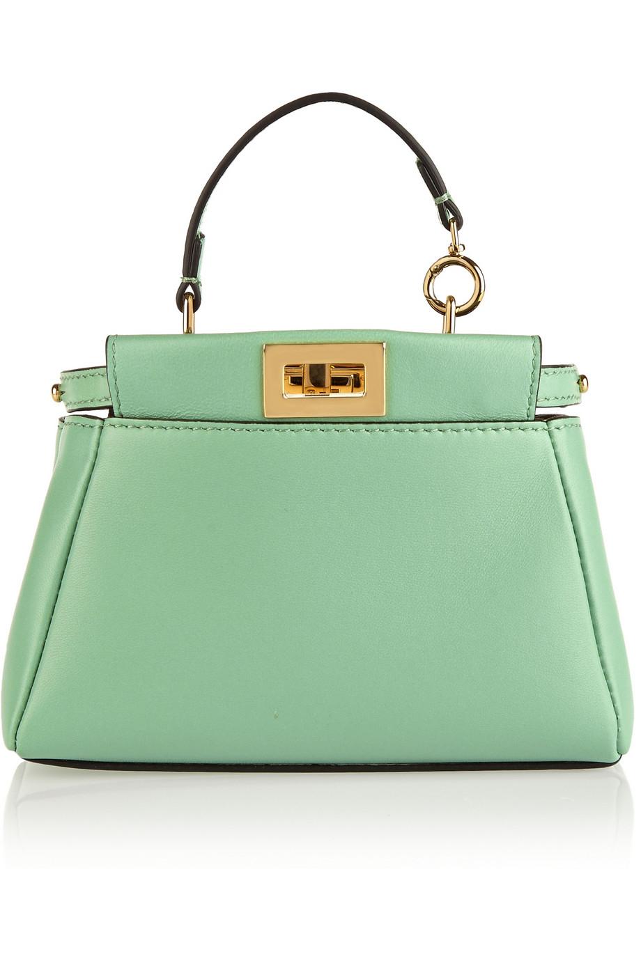 c08ea22e215a Lyst - Fendi Peekaboo Micro Leather Shoulder Bag in Green