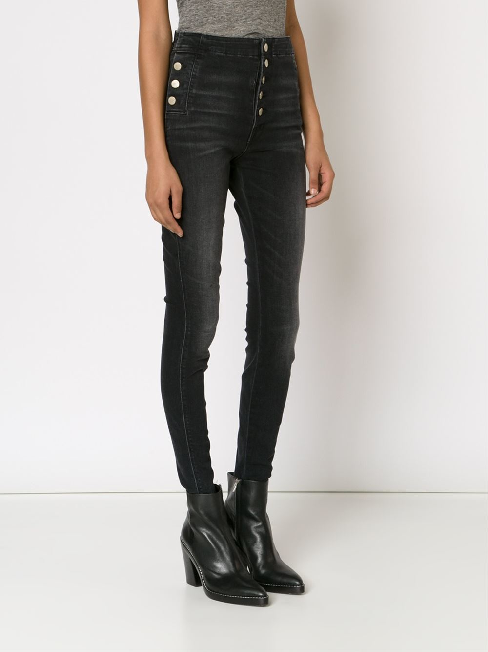 J brand High Waisted Skinny Jeans in Black | Lyst