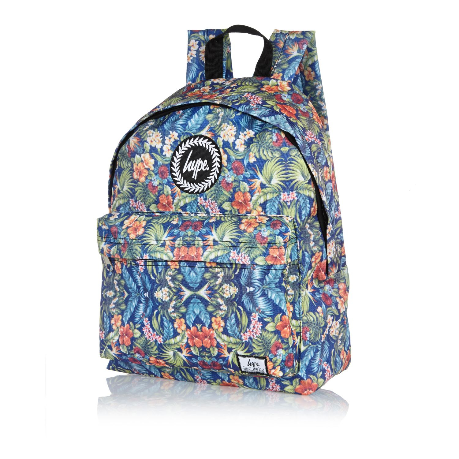 River Island Blue Hype Floral Print Backpack In Floral For Men (blue) | Lyst