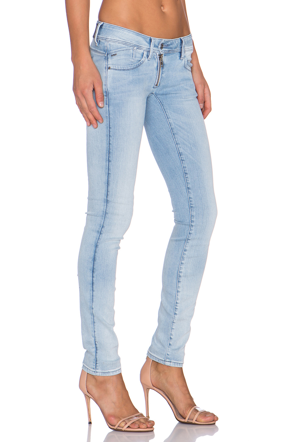 g star raw lynn zip skinny jeans in blue lyst. Black Bedroom Furniture Sets. Home Design Ideas