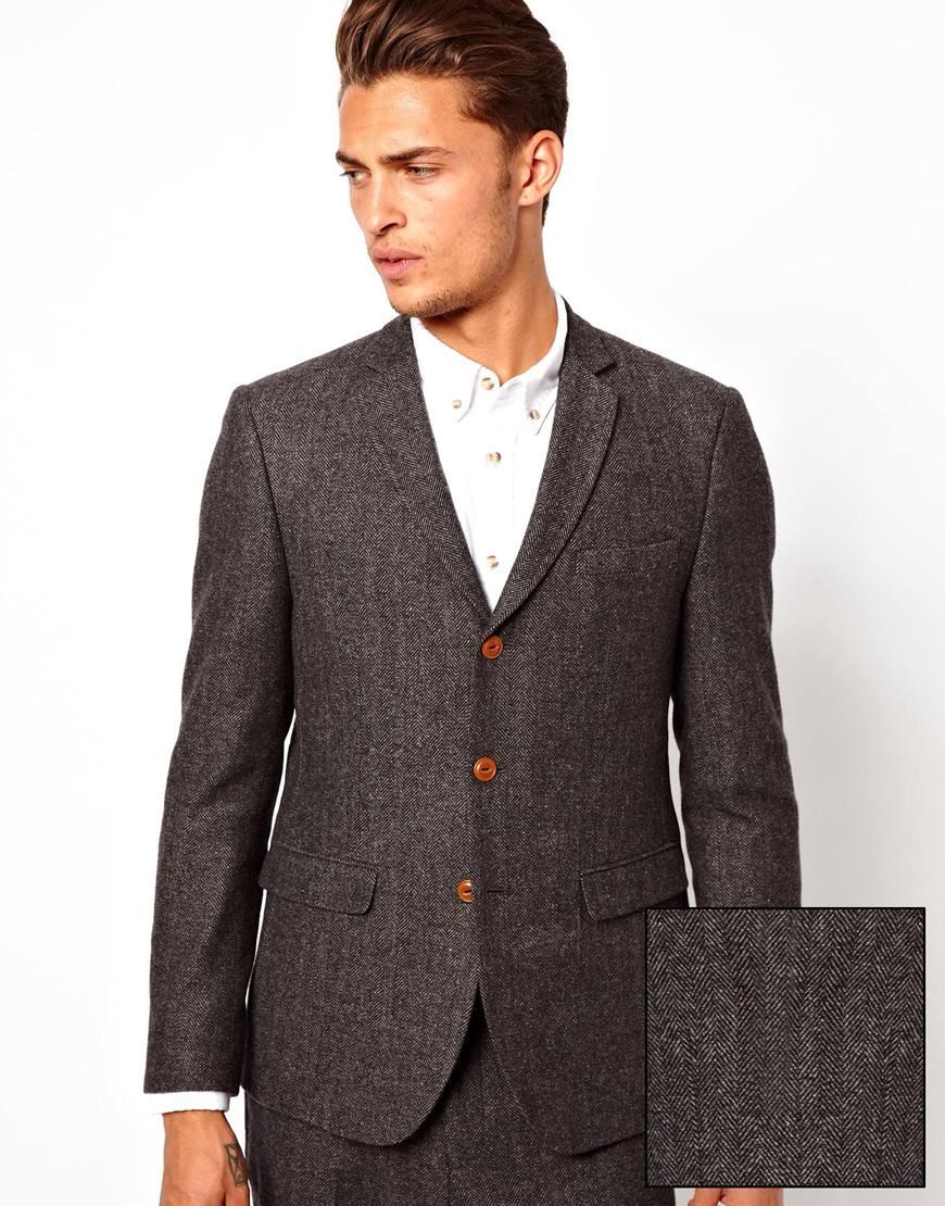 Asos Slim Fit Suit Jacket In Herringbone in Gray for Men   Lyst