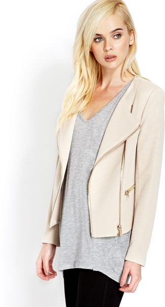 Forever 21 Future Femme Moto Jacket in Beige (Taupe)