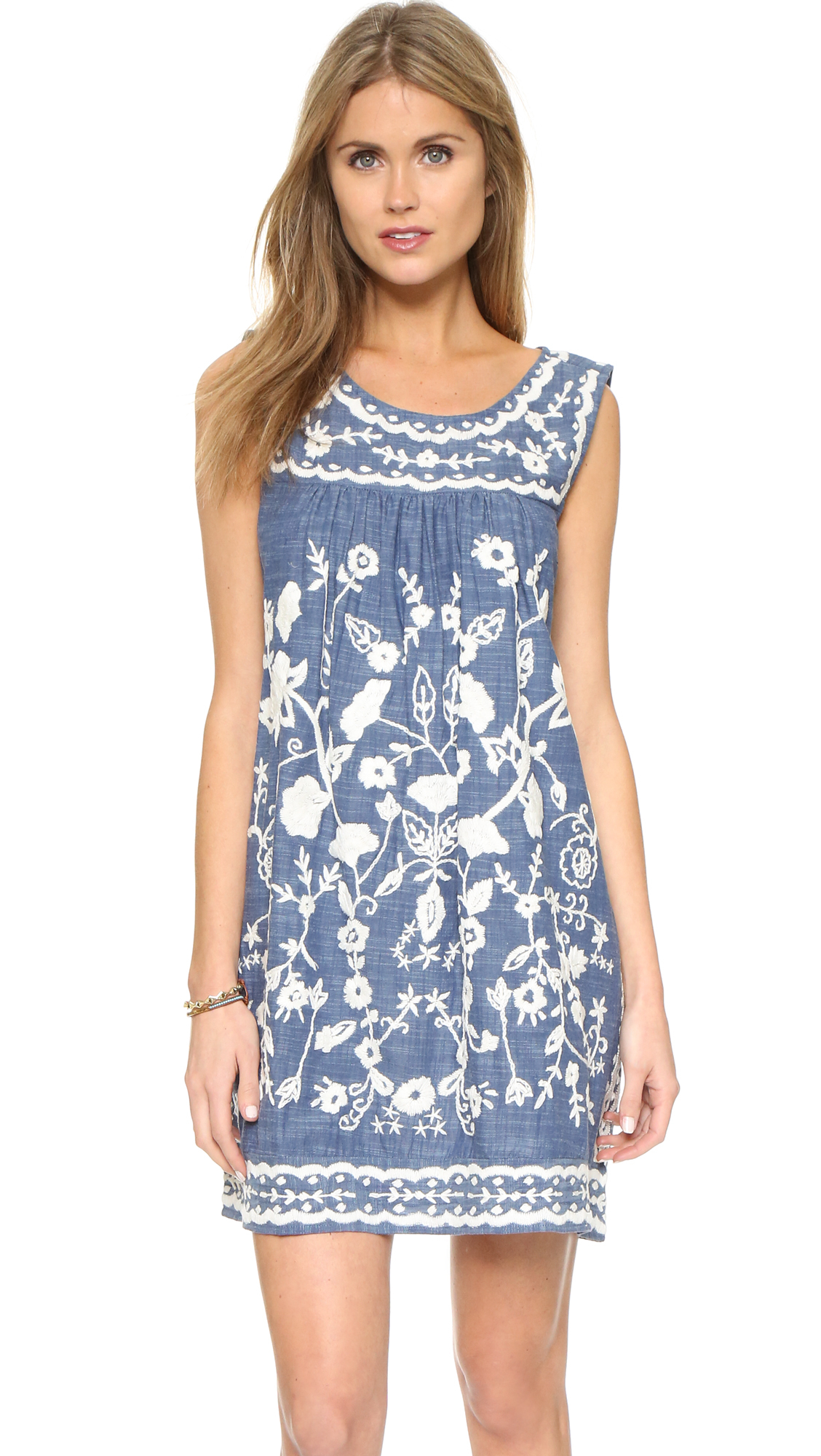 Lyst sea embroidered sleeveless dress in blue