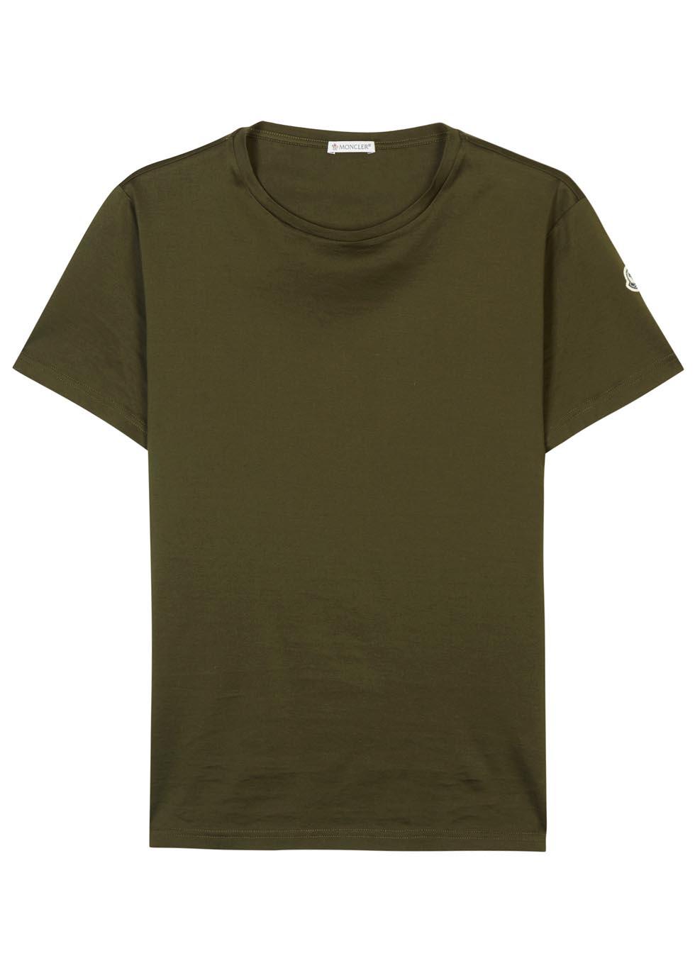 khaki green moncler t shirt