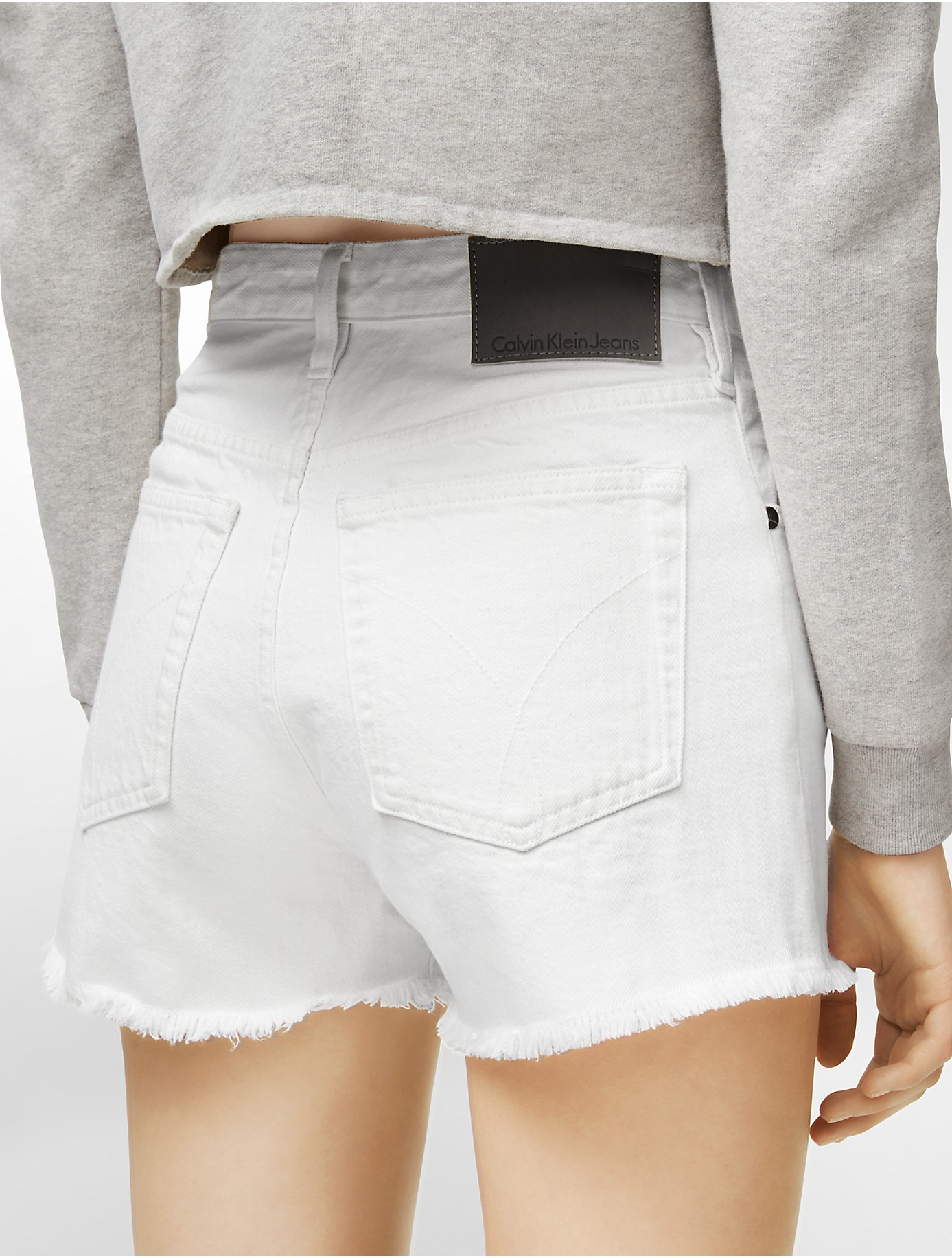 Calvin klein Jeans Sam High Rise Cutoff Denim Shorts in White | Lyst