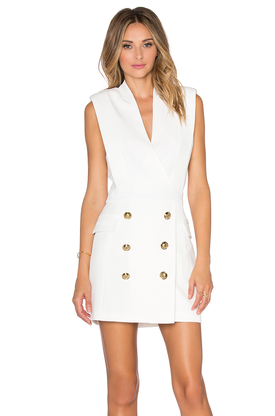 lyst endless rose button front dress in white