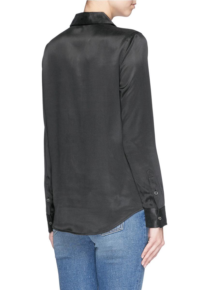 Equipment 39 archive luis 39 silk charmeuse shirt in black lyst for Equipment black silk shirt