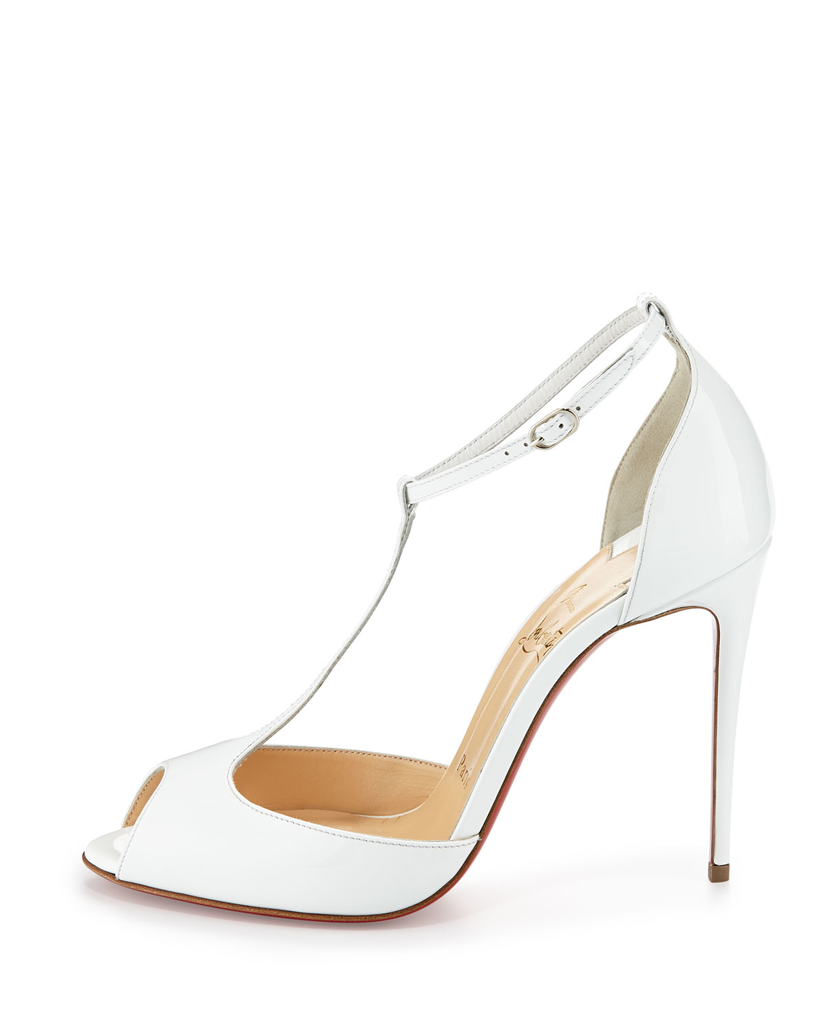 Christian louboutin Senora Patent 100mm Red Sole T-strap Sandal in ...