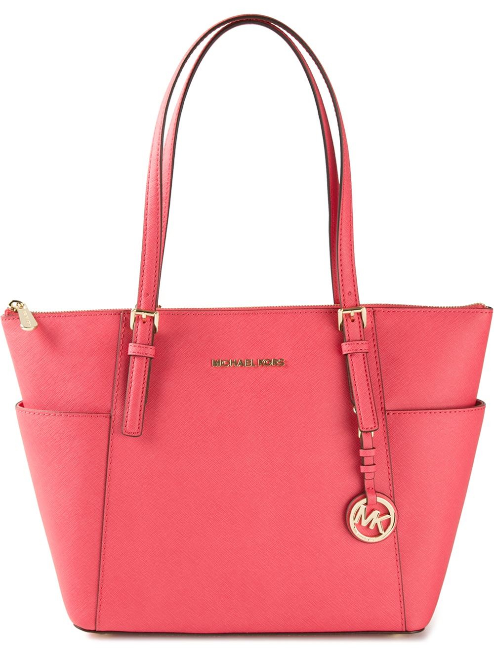 7793ff1a7d3c ... Lyst - Michael Michael Kors Jet Set Top Zip Tote in Red ...