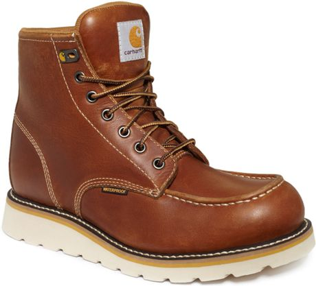 carhartt 6 inch wedge waterproof boots in brown for