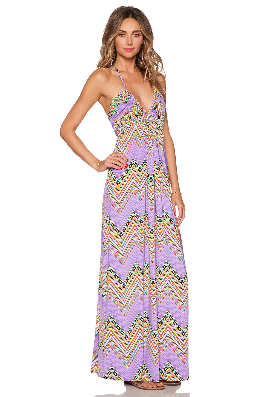 T bags printed halter maxi dress