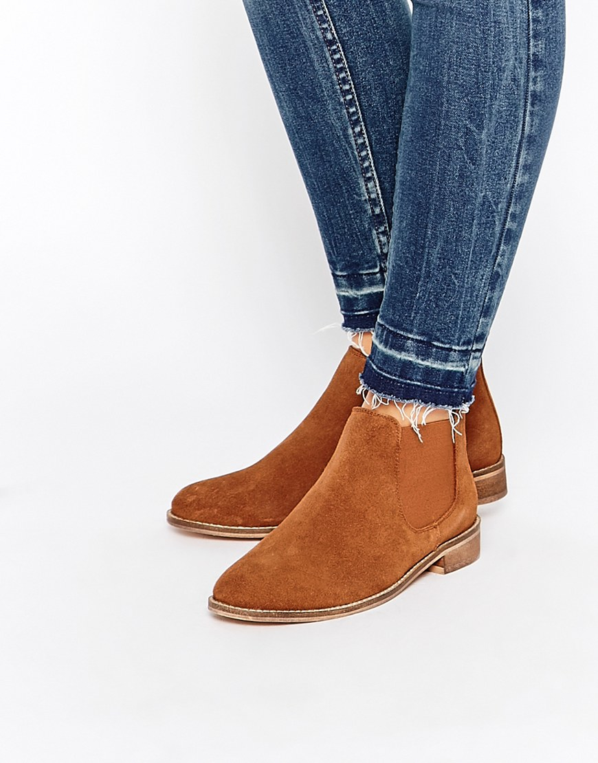 asos america suede chelsea ankle boots in brown lyst