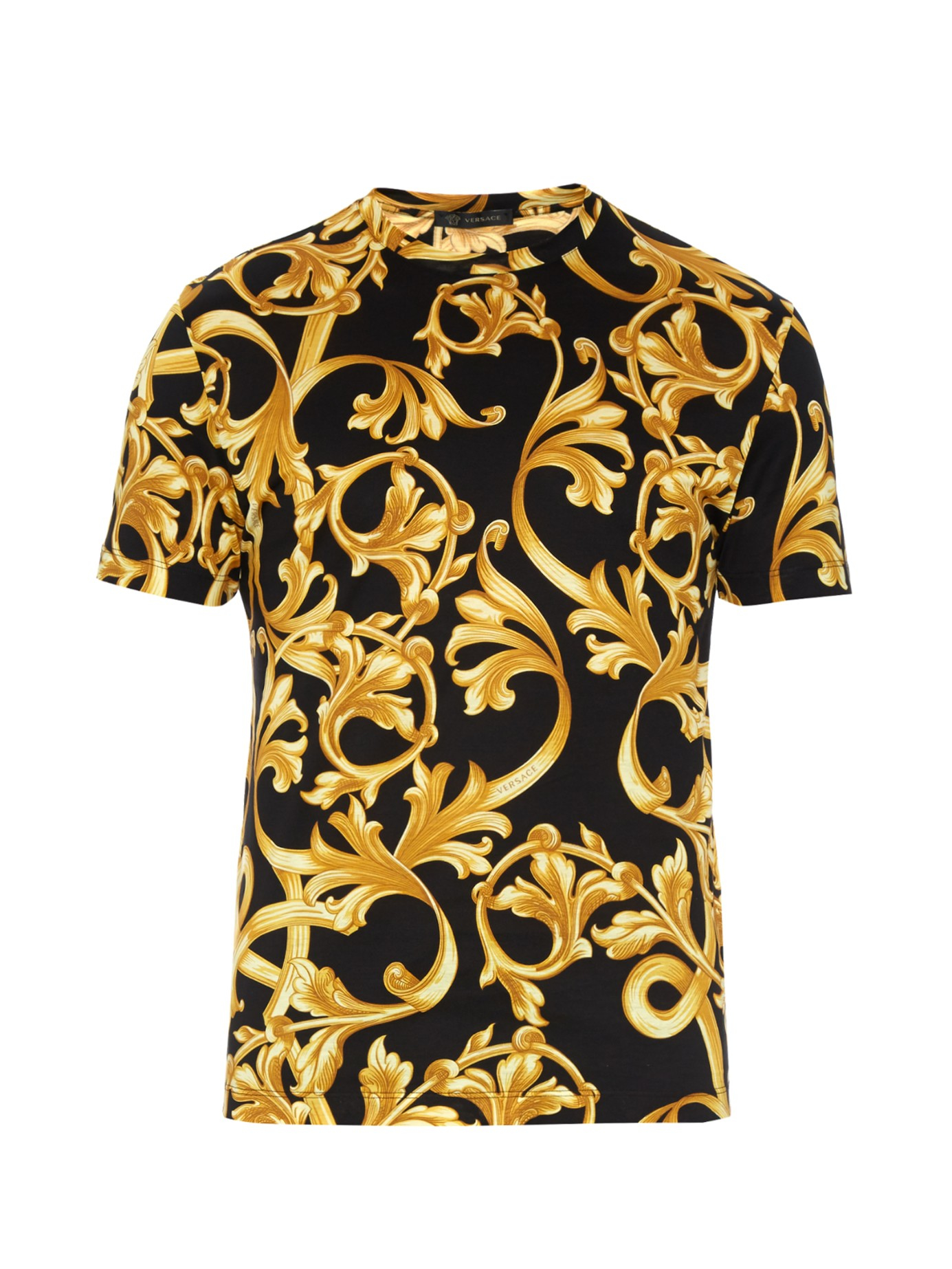 Versace Baroque-print Cotton-jersey T-shirt in Black for ...