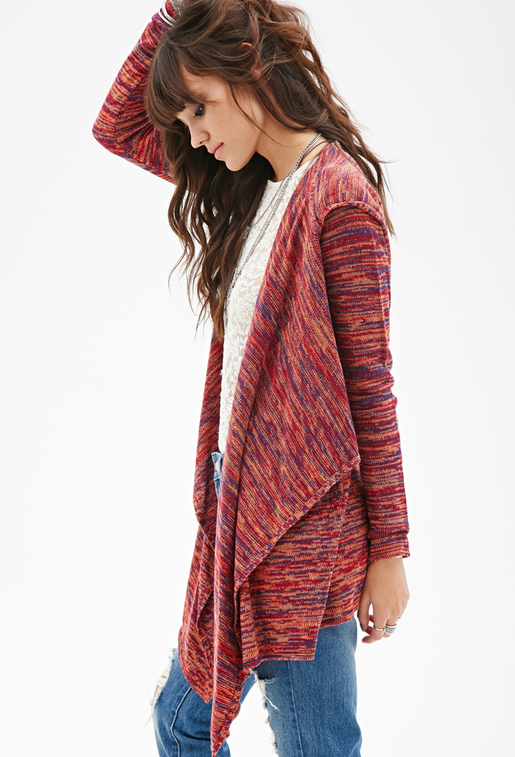 Forever 21 Marled Knit Hooded Cardigan in Red | Lyst