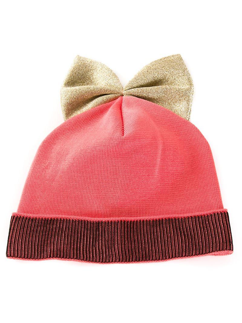 42ec1b5b69e Lyst - Federica Moretti Glitter Bow Knit Beanie in Pink