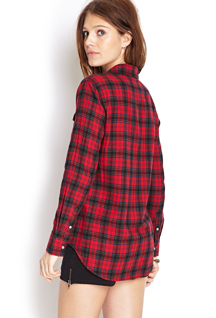 Lyst forever 21 snap button flannel shirt in red for Flannel shirts for womens forever 21