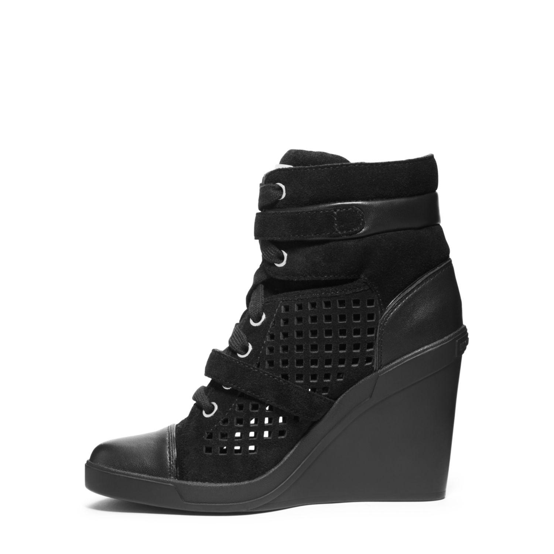 00df94cbfe7 Michael Kors Skid Laser-cut Suede Wedge Sneaker in Black for Men - Lyst