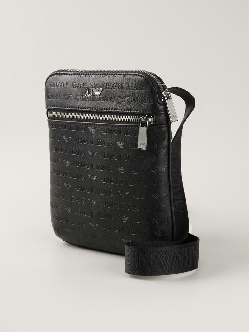 armani jeans logo print messenger bag in black for men