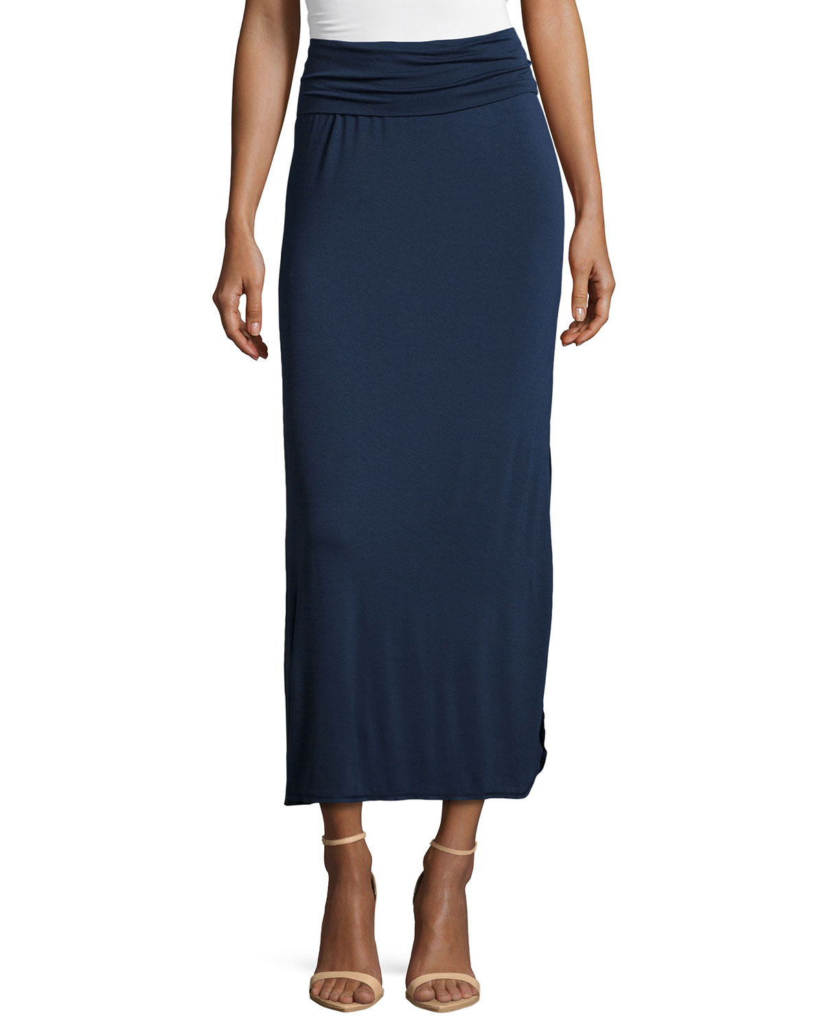 max studio side slit jersey maxi skirt in blue lyst