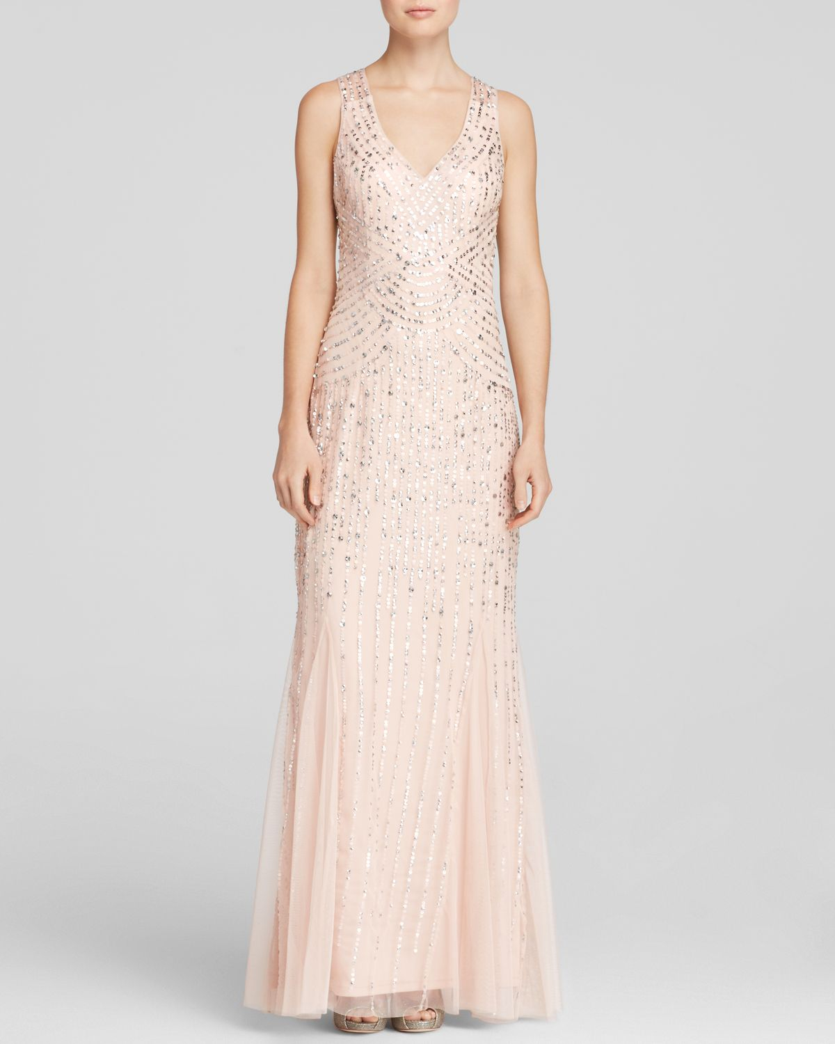 Lyst - Aidan Mattox Gown - Sleeveless V-neck Beaded Godet in Natural