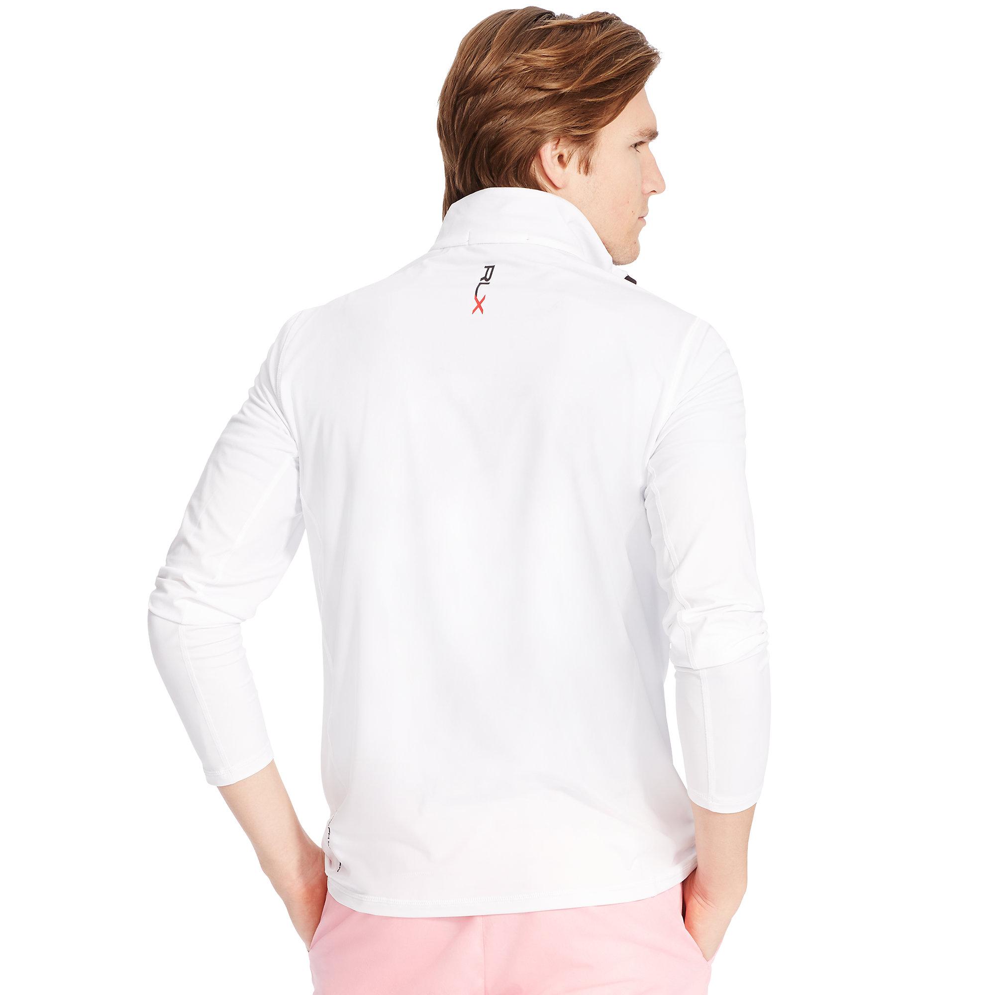lyst ralph lauren stretch half zip pullover in white for men. Black Bedroom Furniture Sets. Home Design Ideas