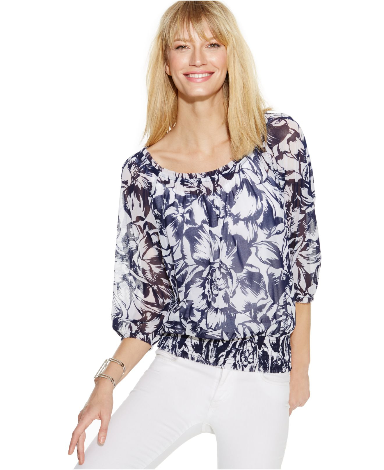 50f236676215b Lyst - INC International Concepts Printed Off-The-Shoulder Peasant Top