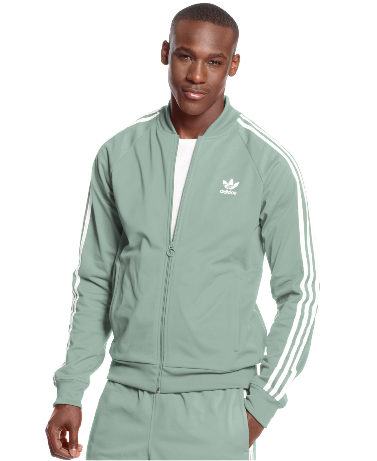 lyst adidas originals superstar track jacket in gray for men. Black Bedroom Furniture Sets. Home Design Ideas