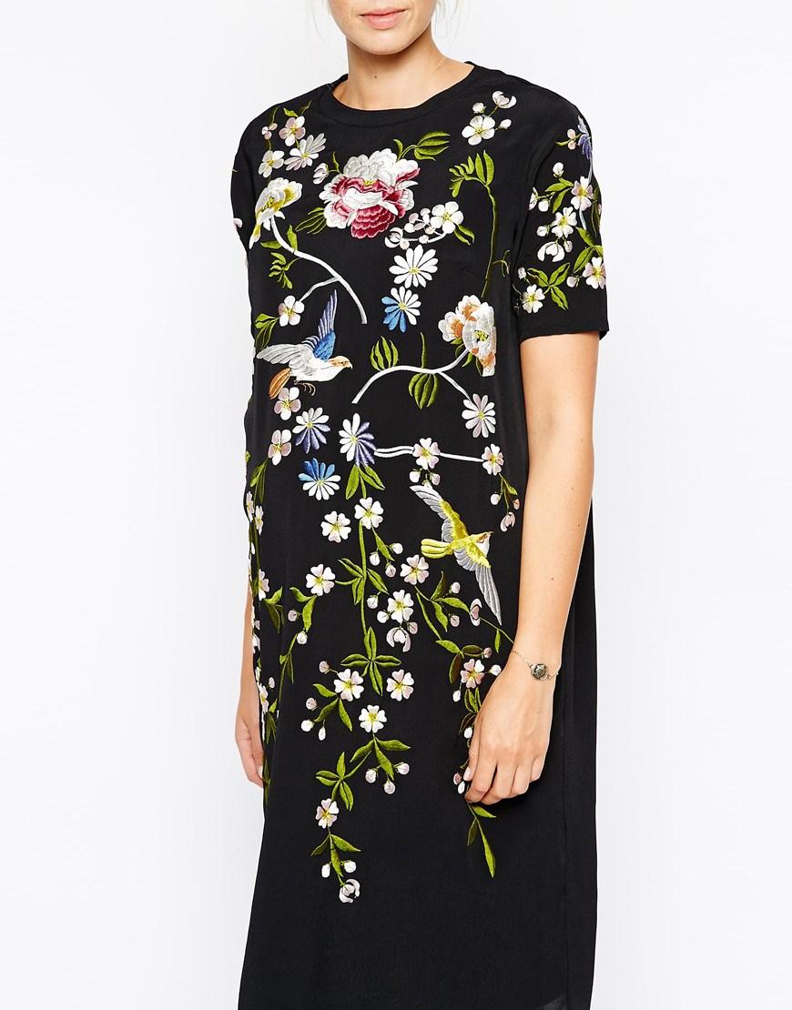 2f32359959 Asos Black Floral Embroidered Dress - Gomes Weine AG