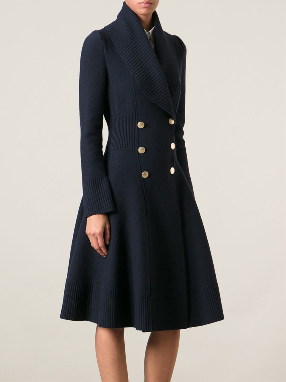 Lyst Alexander Mcqueen Flared Great Coat In Blue