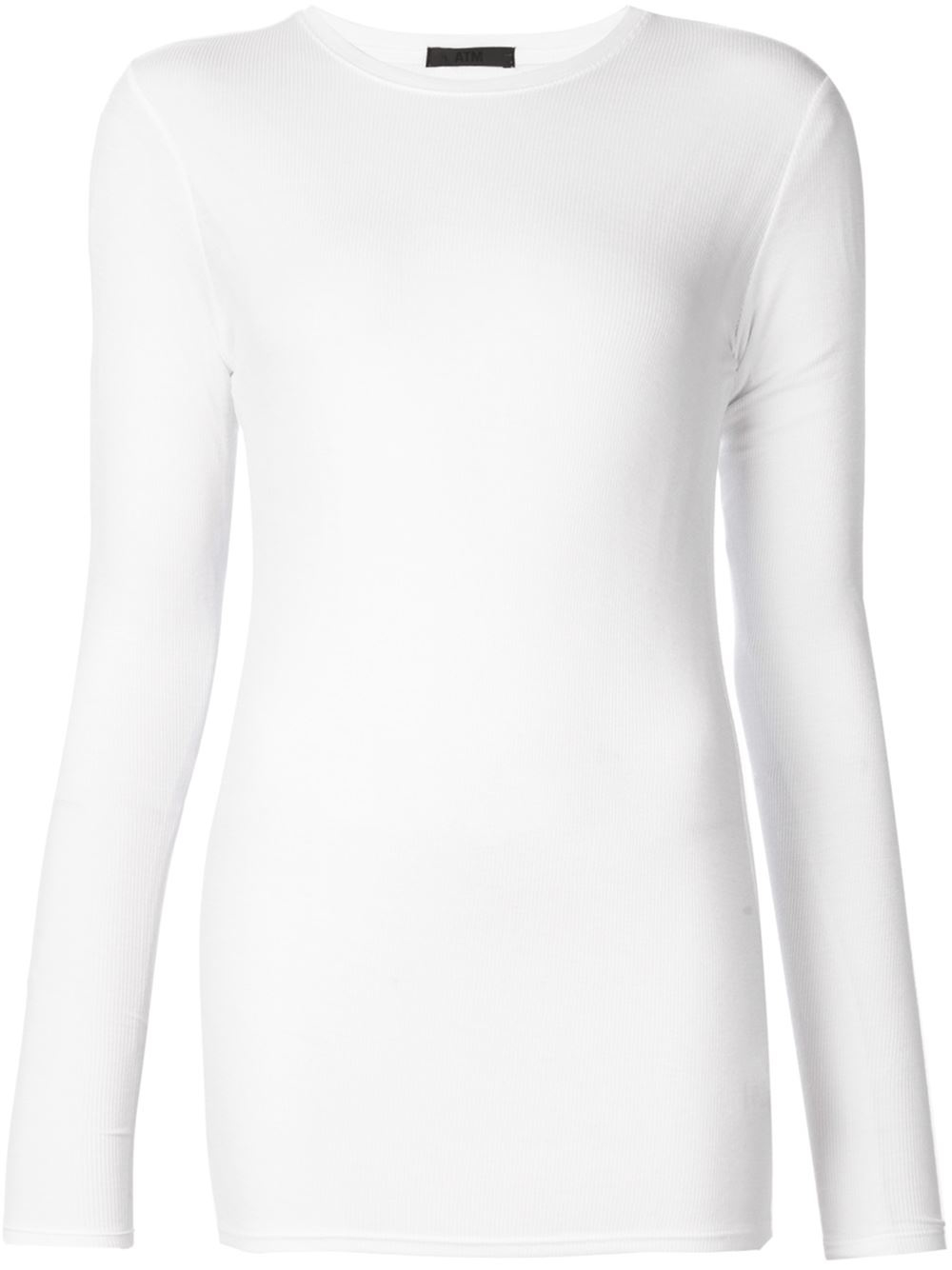 Atm ribbed long sleeve t shirt in white save 40 lyst for Ribbed long sleeve shirt