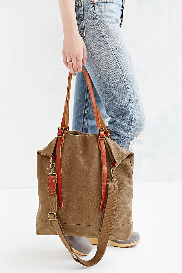 Bdg Canvas Leather Tote Bag in Green | Lyst