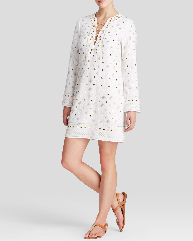 Michael michael kors Embellished Tunic Dress in White