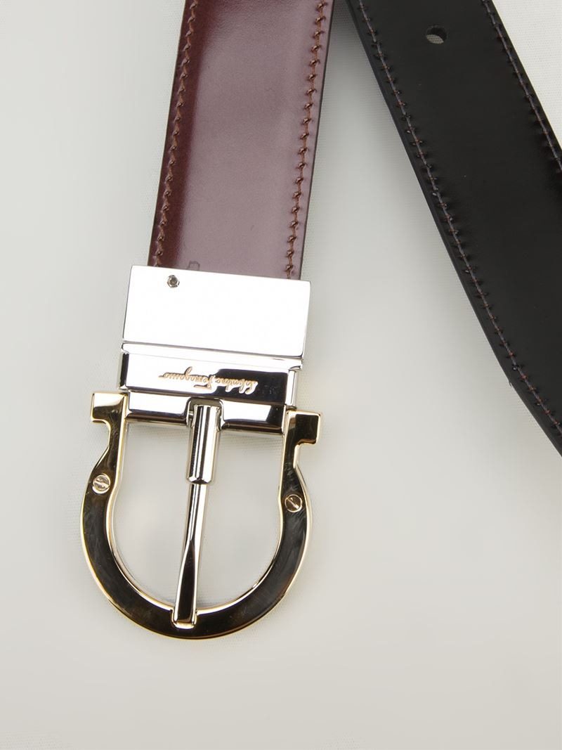 ferragamo calf leather belt in brown for lyst