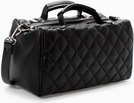 Zara Quilted Mini Bowling Bag In Black Lyst