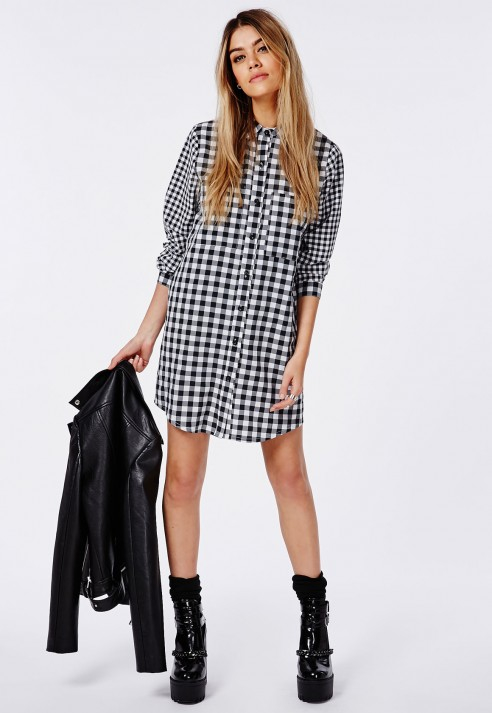Lyst - Missguided Contrast Gingham Shirt Dress Black/white in Black