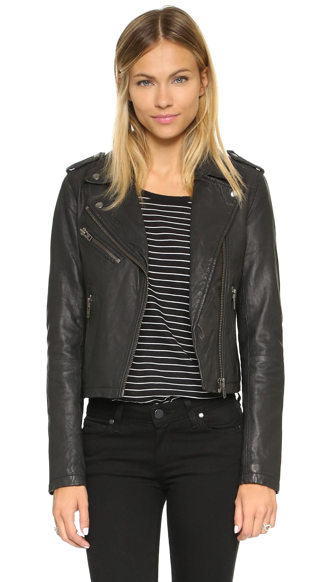 Moto black leather jacket