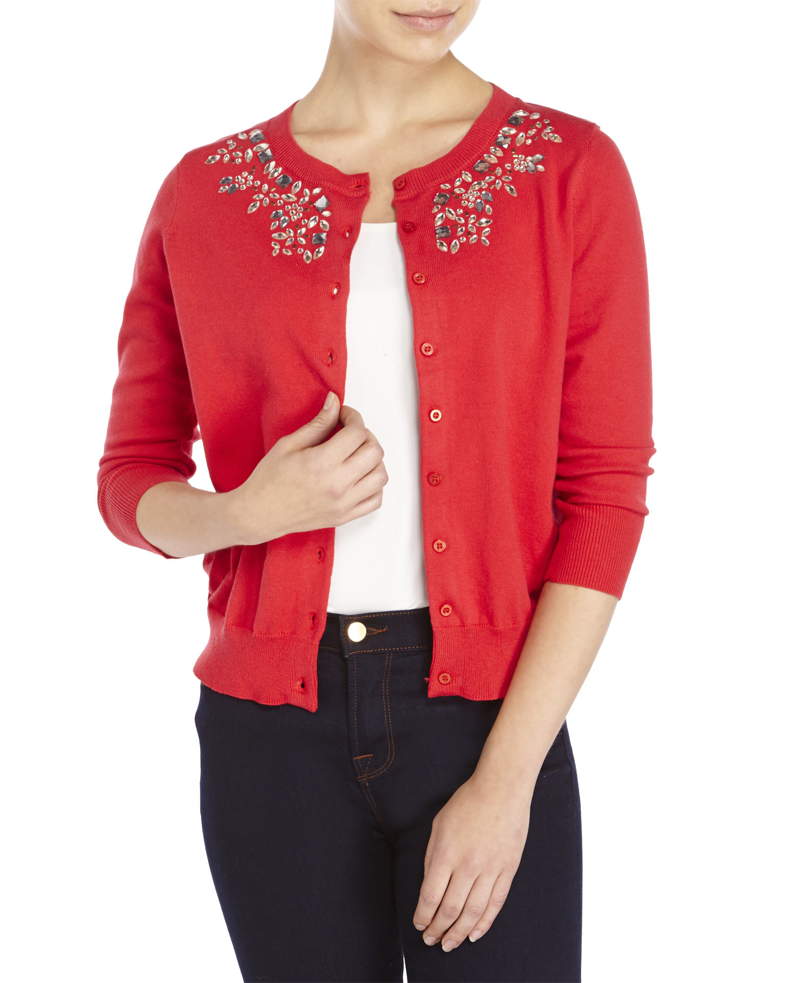 U.s. polo assn. Embellished Cardigan in Red | Lyst
