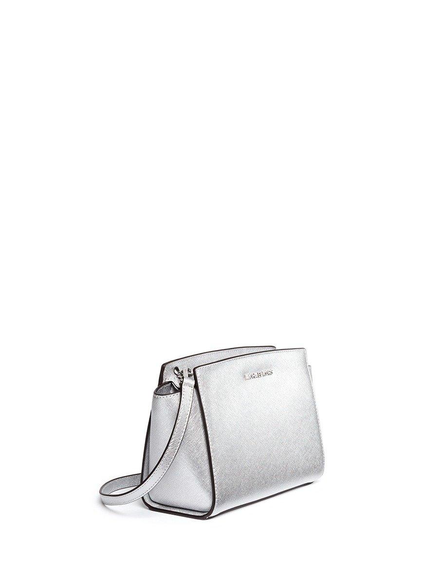 7ec1c8660aee Michael Kors 'selma' Medium Saffiano Leather Messenger Bag in Metallic -  Lyst