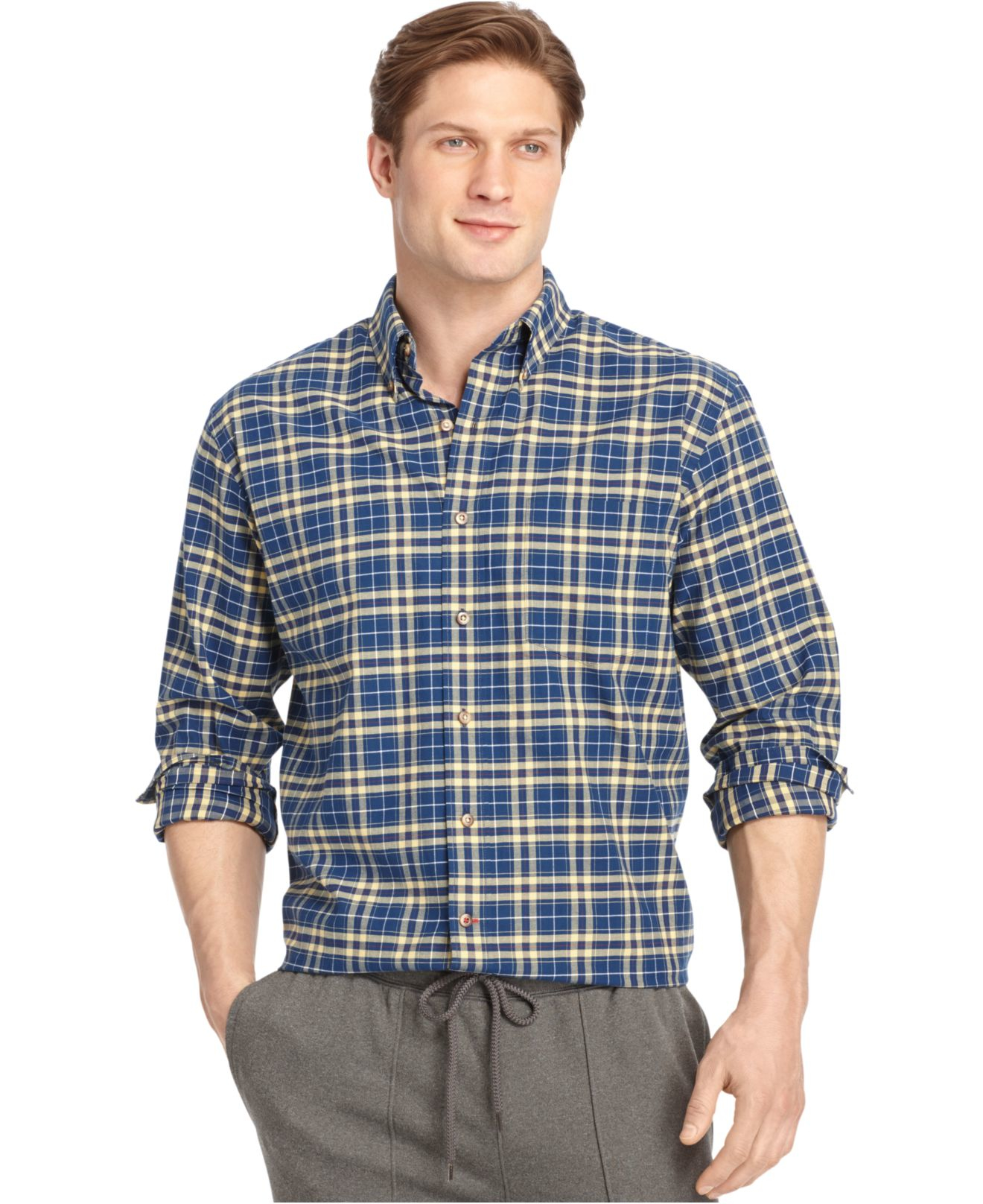 Izod long sleeve medium plaid button down shirt in blue for Izod button down shirts