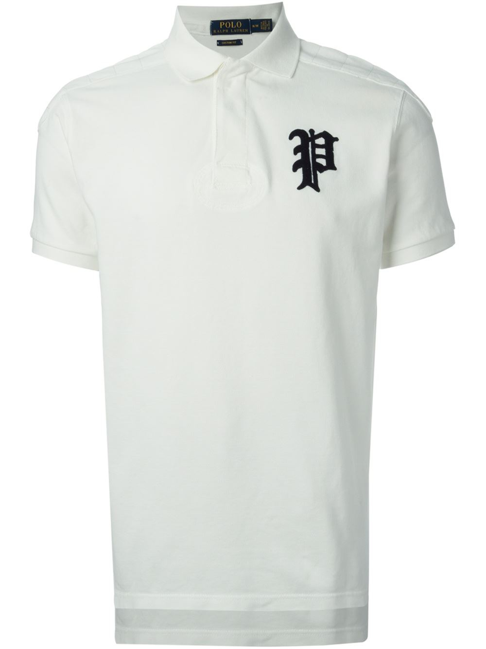 Polo ralph lauren logo polo shirt in white for men lyst for Ralph lauren logo shirt