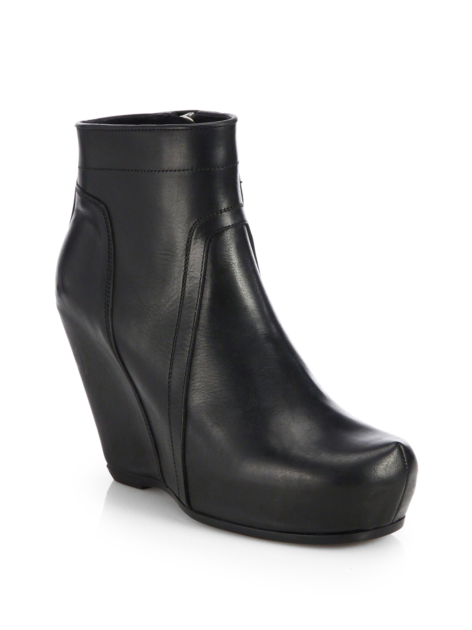 rick owens leather classic wedge ankle boots in black lyst