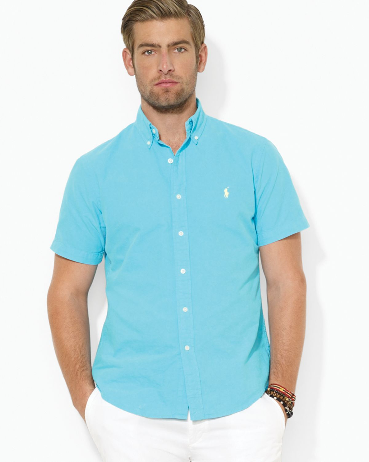 Ralph lauren polo custom short sleeved oxford button down for Athletic fit button down shirts