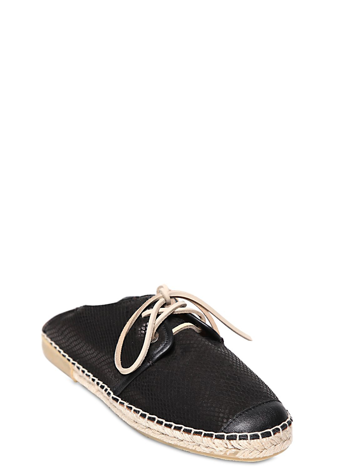 jimmy choo snake embossed leather slip on shoes in black