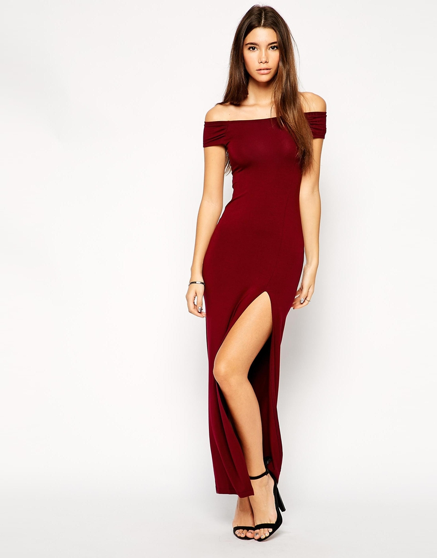 2d2c637c4d7475 ASOS Exclusive Bardot Body-Conscious Maxi Dress With Thigh Split in ...