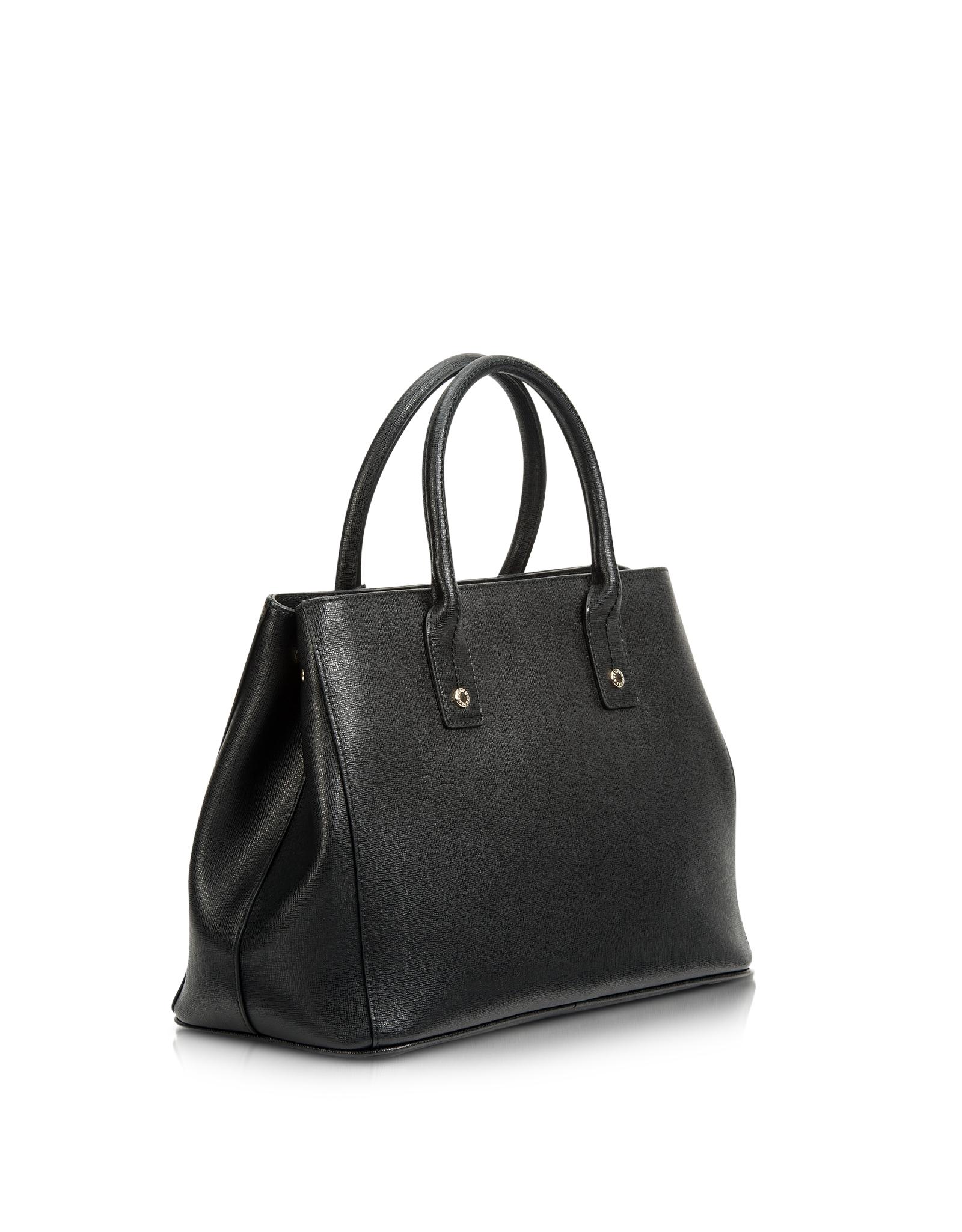 8340bc1cf72a Lyst - Furla Linda Onyx Saffiano Leather Small Tote in Black
