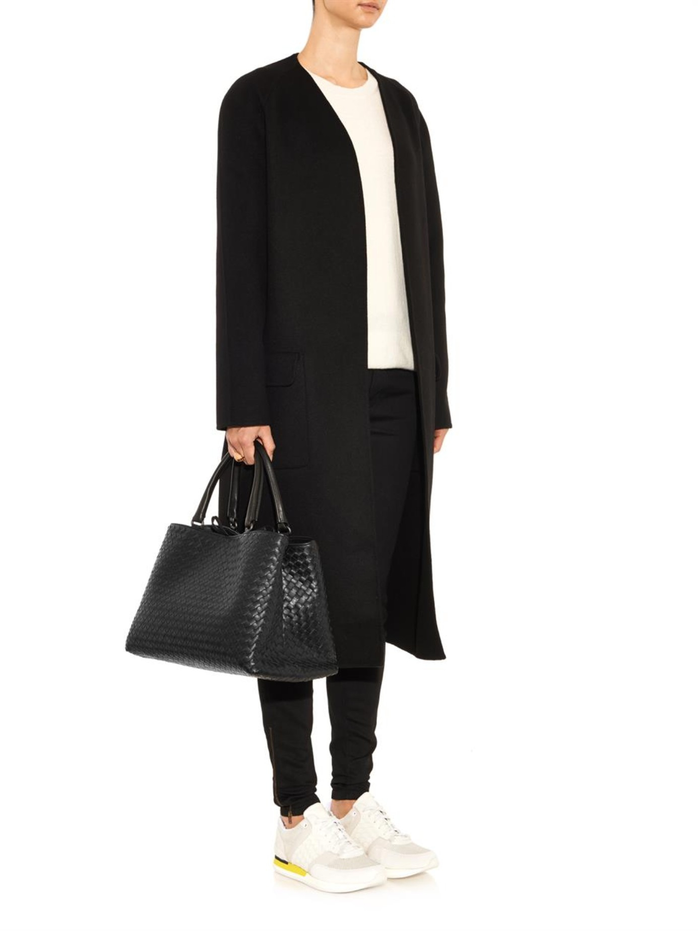 Bottega Veneta Milano Intrecciato Leather Tote in Black - Lyst 07956cb61f