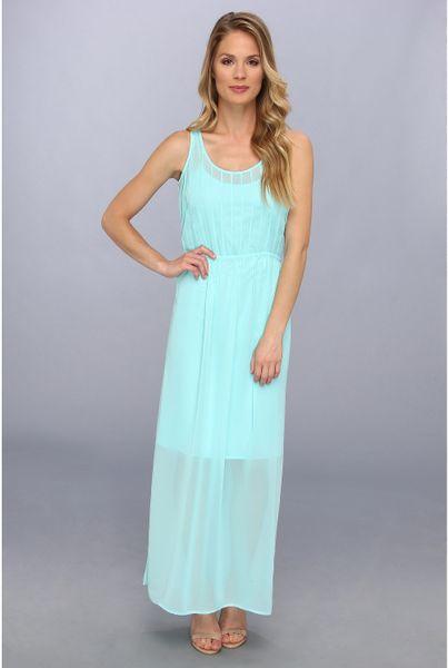 Calvin Klein Pintuck Maxi Polyester Chiffon Dress In Blue