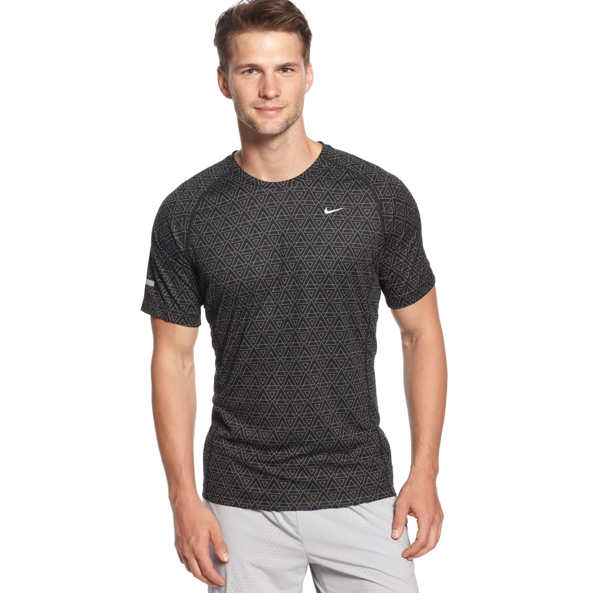 Nike Printed Miler Drifit Tshirt In Black For Men Black