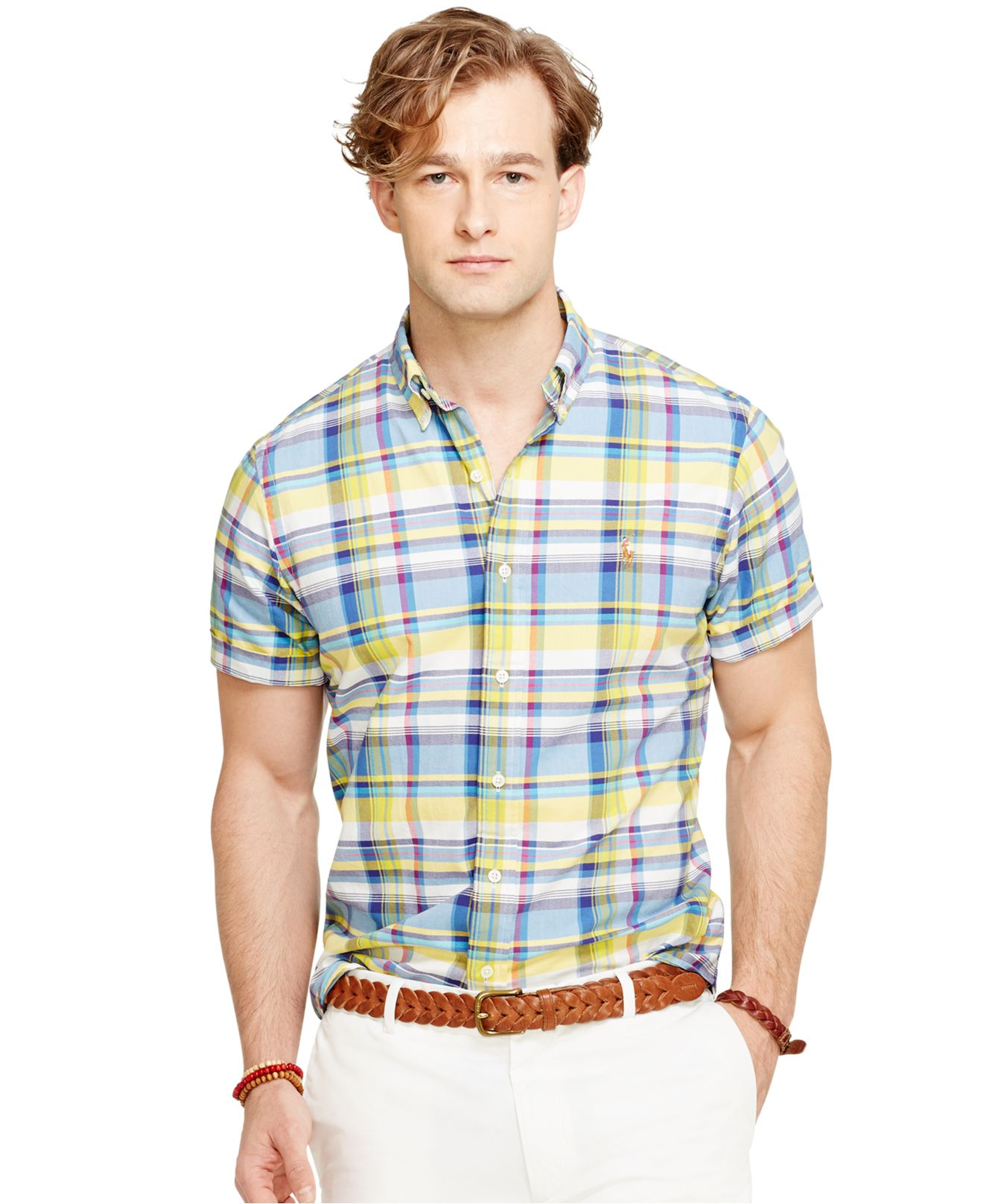 Polo ralph lauren short sleeved plaid oxford shirt in blue for Blue and yellow plaid dress shirt